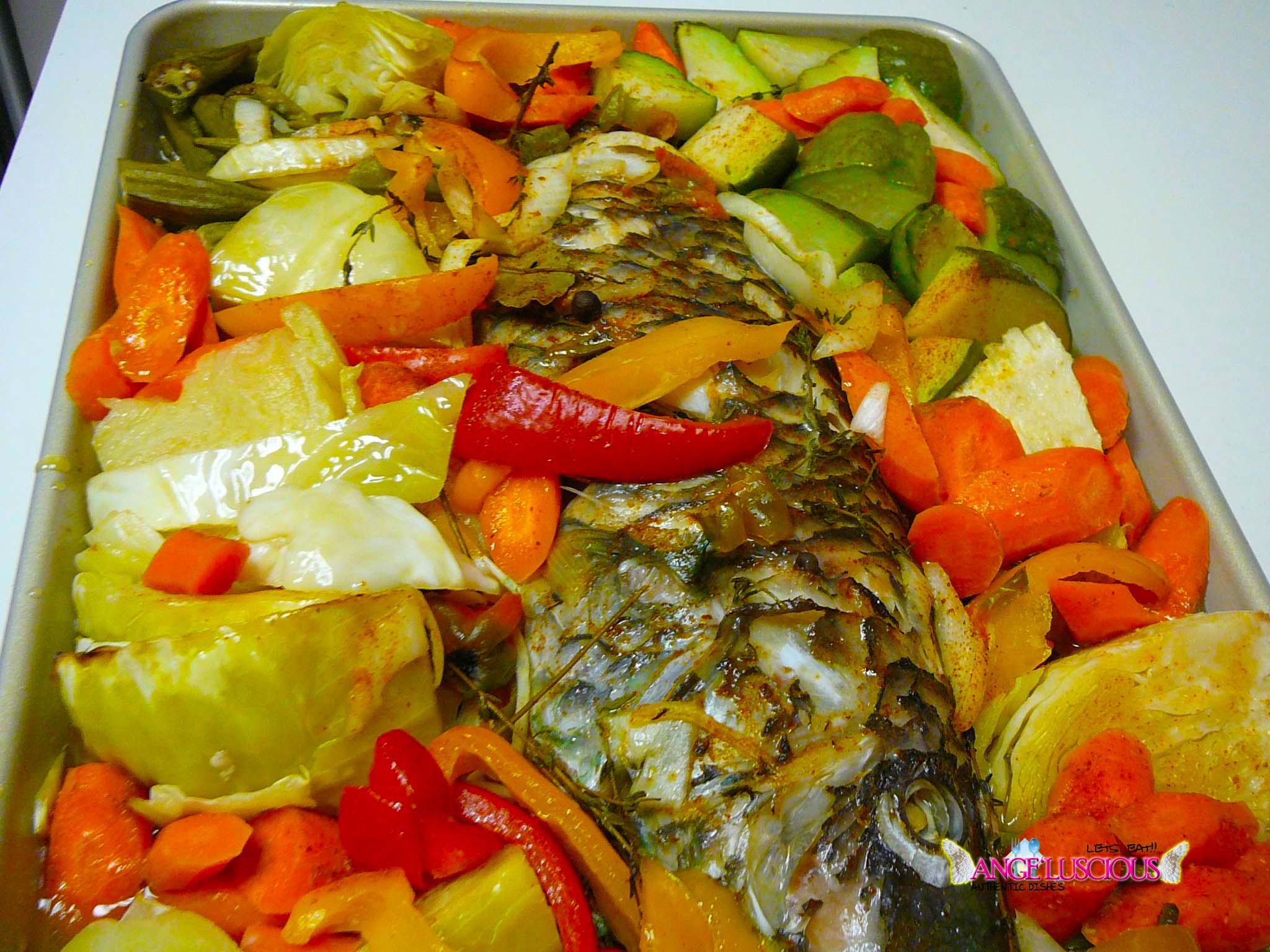 Oven roasted parrot fish and vegetables angeluscious for What vegetables go with fish