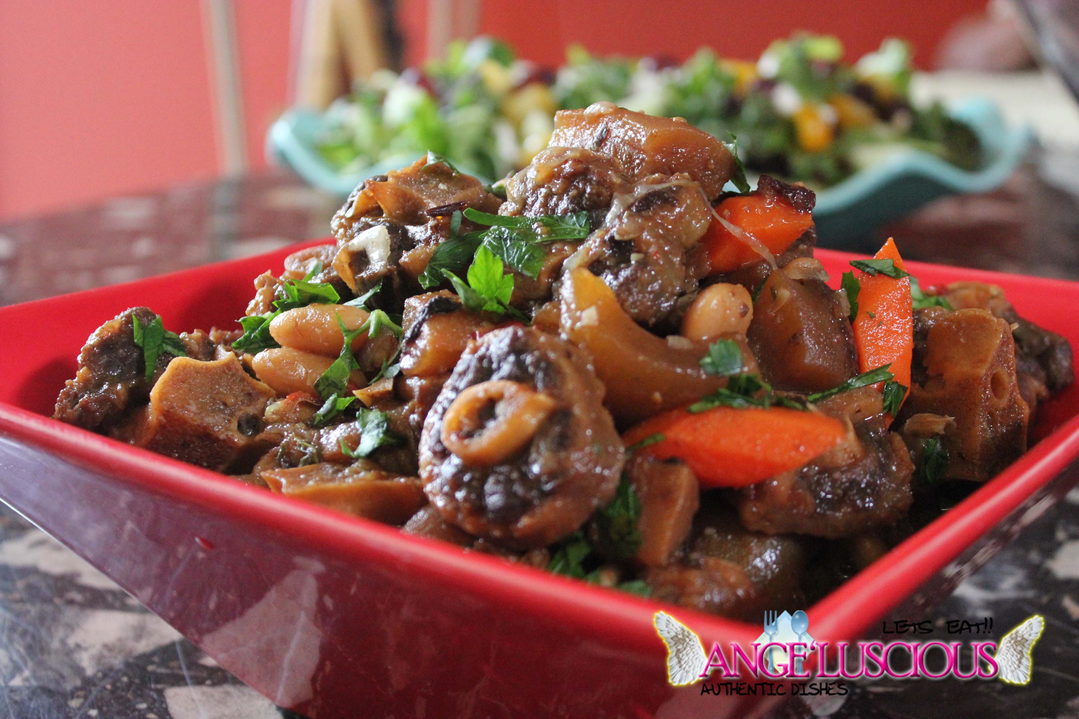 Braised Oxtails With Burnt Cow Skin