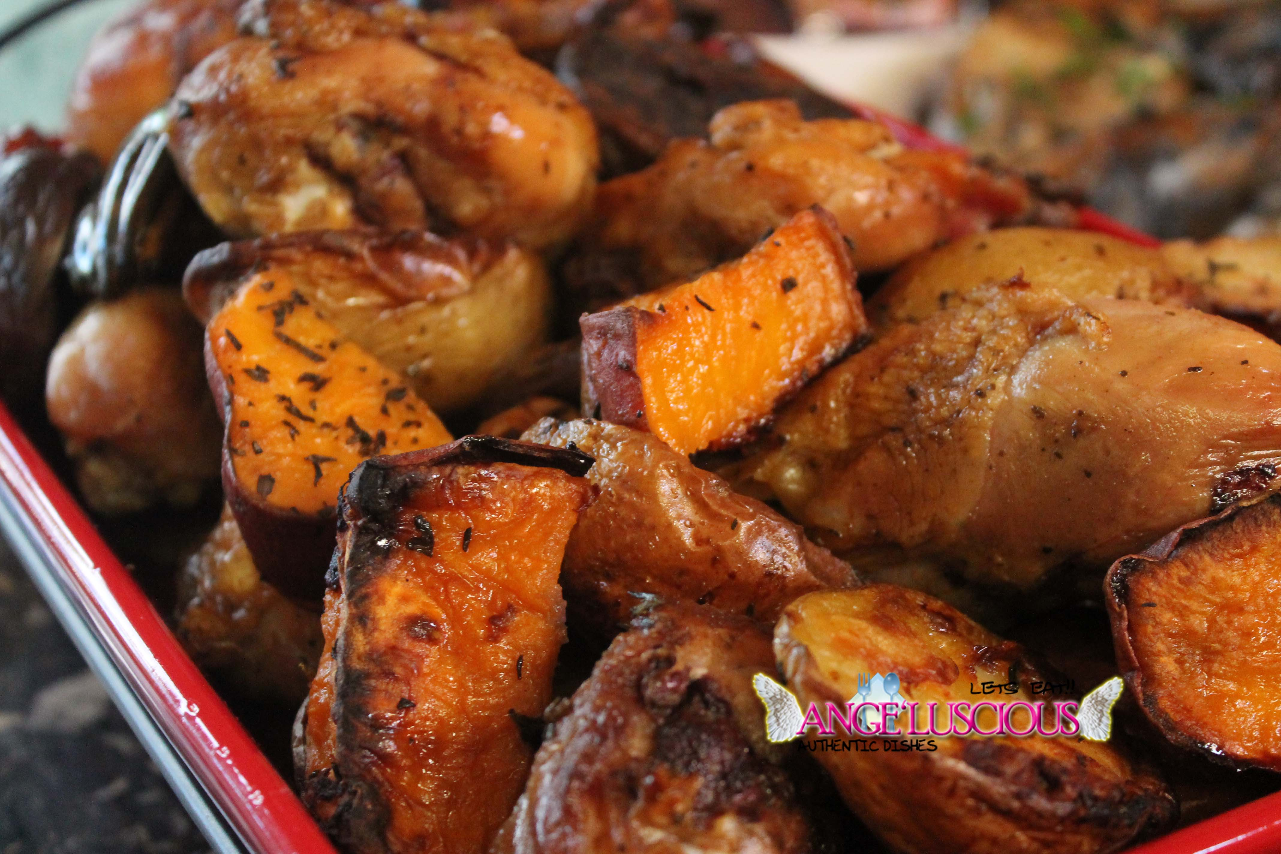 Herb roasted tri color potatoes with chicken