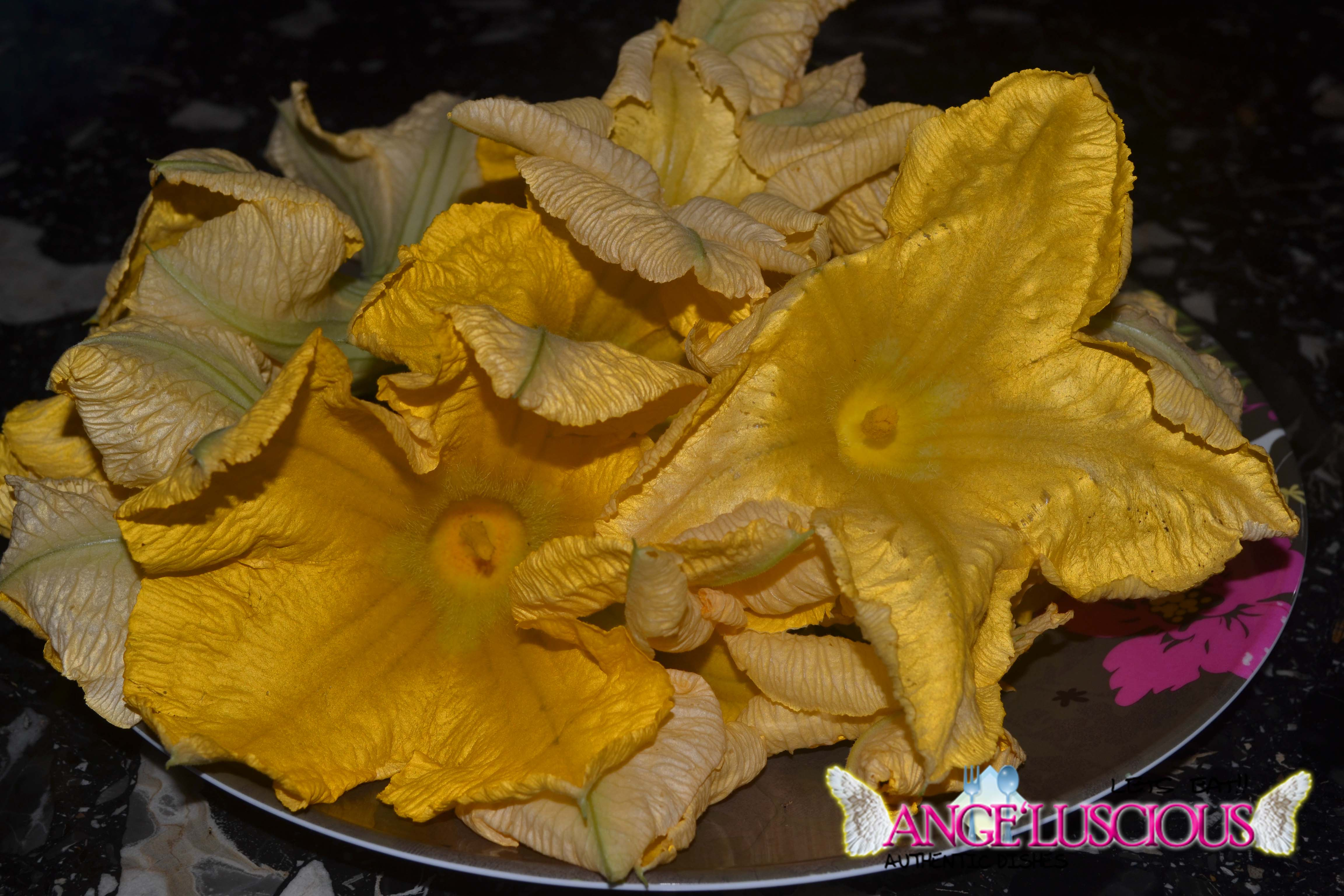 squash blossoms harvested