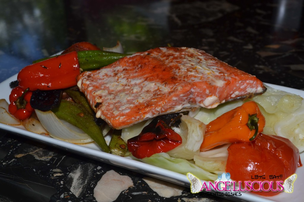 Grilled Salmon with Okras and Cabbage