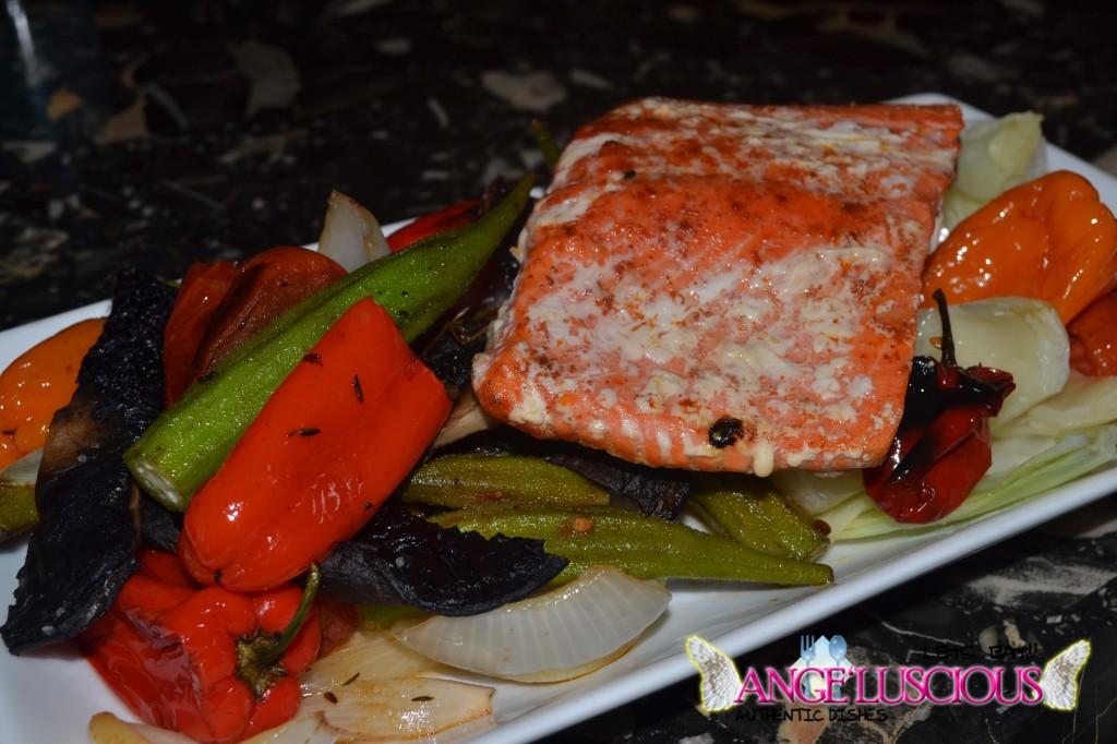 Grilled Sockeye Salmon with Okras