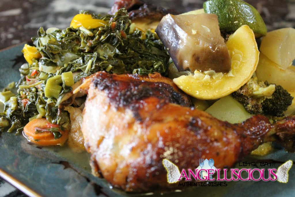 roasted chicken steamed callaloo and roasted vegetables