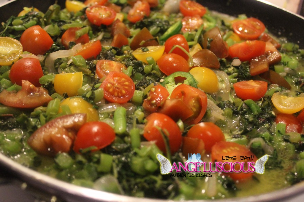 Steamed Callaloo (amaranth) with kumato and grape tomatoes