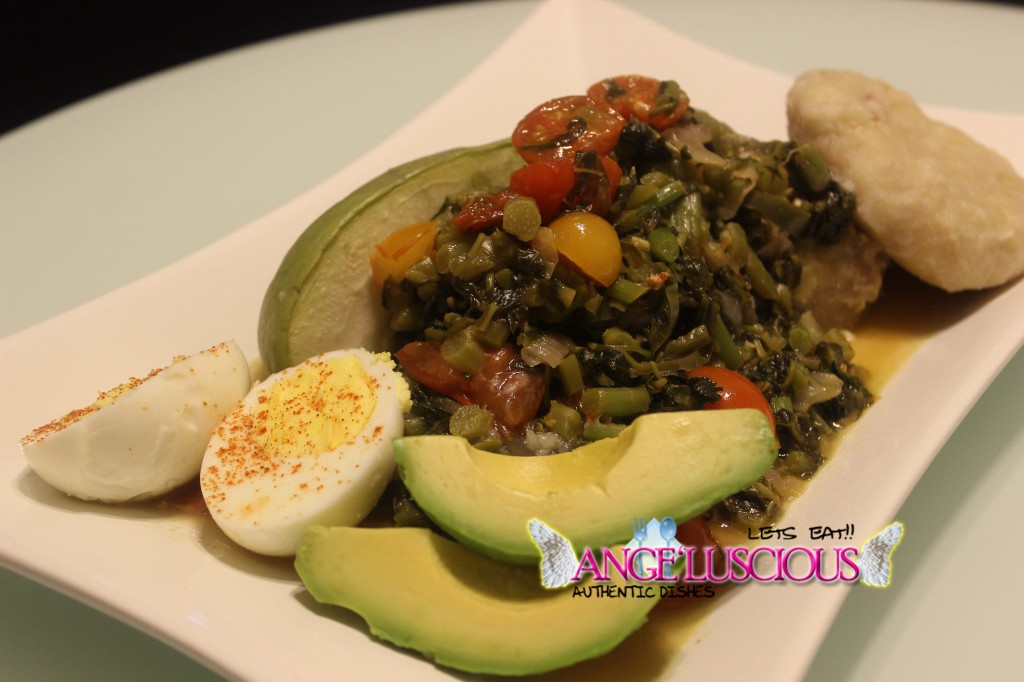 Steamed Callaloo (amaranth) with boiled dumpling and coco