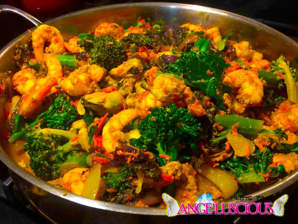 curry shrimp with flowering kale and broccolette